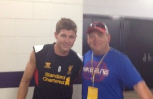 Steven Gerrard with Soccer Media 1 sideline analyst Ron Dawson